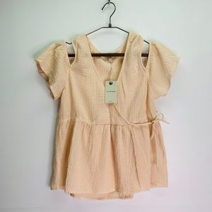 Lucky Brand Small Peachy Pink Cold Shoulder Top